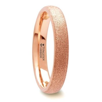 Rose Gold Plated Tungsten Wedding Ring with Sandblasted Texture