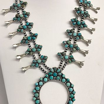 Sunwest Jewelry~ Carico Lake Turquoise Squash Blossom Necklace