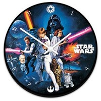 "Vandor 99089 Star Wars 13.5"" Cordless Wood Wall Clock, Multicolor"