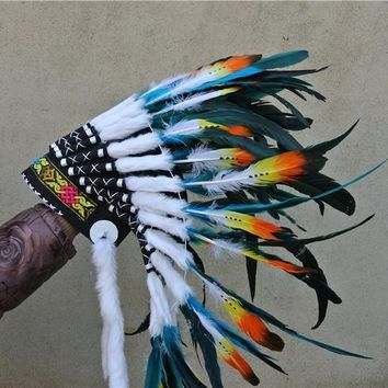21inch turquoise Chief Indian feather Headdress Native American War Bonnet  hand made indian costume