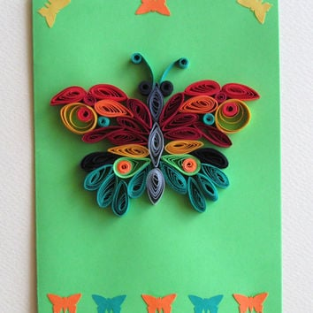 Butterfly Quilling Card, Butterfly Greeting Card, Green Quilled Birthday Card