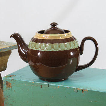 Classic English Teapot Brown Redware Yellow Green Scalloped Bands Vintage