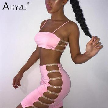 AKYZO Sexy Bodycon Summer Mini Dress 2019 Pink Black Spaghetti Strap Rhinestone Bandage Party Casual Basic Short Dress