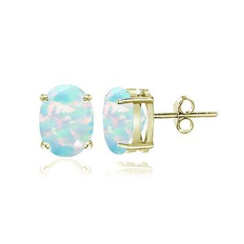 Gold Tone over Sterling Silver Created White Opal 5x3mm Oval Stud Earrings