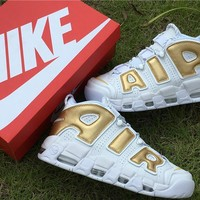 [FREE SHIPPNG] Mens Nike Air More Uptempo Scottie Pippen ¡ä96 921948-200 White/Gold