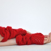 Red Elegant Knit Mohair Gloves | reflectionsbyds - Accessories on ArtFire