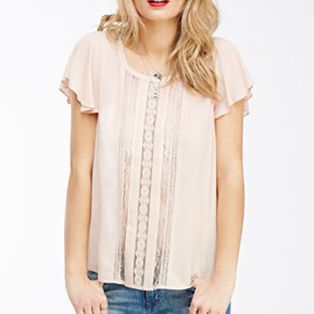 Pintucked Lace-Paneled Top