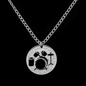 Drum Set Pendant Necklaces Rocker Jazz Band Necklace Individualized Best Friends Forever Creative Lovers Couples Christmas Gift