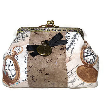 Metal frame Coin Purse in Vintage Fabric / Coin Purse Beige / Padded Make up Pouch / Make up Case with watches