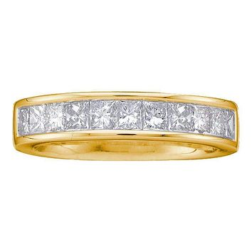 14kt Yellow Gold Women's Princess Channel-set Diamond Single Row Wedding Band 1 Cttw - FREE Shipping (US/CAN) - Size 6