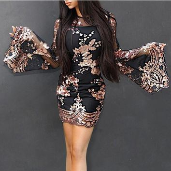 Black Patchwork Grenadine Sequin Flare Sleeve Round Neck Party Mini Dress