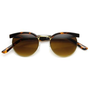 Dapper Vintage Fashion Round Half Frame Sunglasses 9165