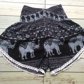 High waisted Lace Shorts Elephants Boho Print Summer Chic Fashion Trim Tribal Aztec Ethnic Clothing Bohemian Ikat Clothes Hobo Beach Black