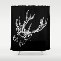 Deer Black White Shower Curtain by Beautiful Homes