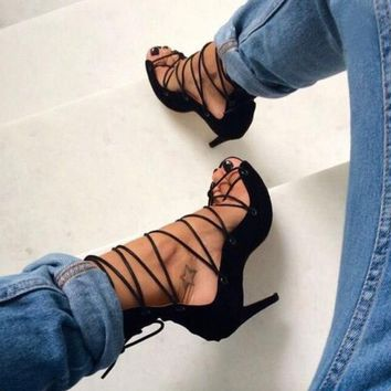 Lace Up Suede Stiletto Heel Peep-toe Ankle Straps High Heel Sandals