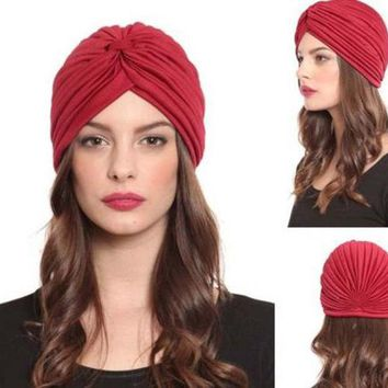 DCCKL3Z Plain solid Turban Head Wrap Band Hat  Chemo Bandana hair cap Many Colour