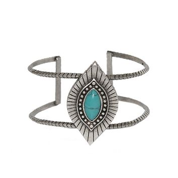 Sedona Selfie Cuff in Turquoise and Antique Silver