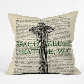 DarkIslandCity Space Needle On Dictionary Paper Throw Pillow