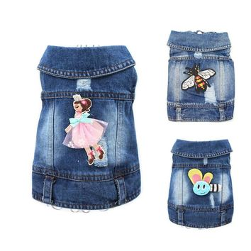 2017 Embroidered Design Denim Clothes for Dogs Cute Cowboy Shirt Pet Vest Puppy Chihuahua Cat Cool Jacket Dog Clothing 10A