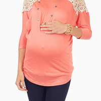 Coral Crochet Shoulder Maternity Top