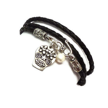 Mexican Day of the Dead Sugar Skull Wrap Bracelet by charmeddesign1012