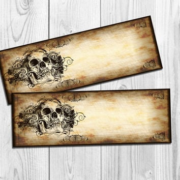 Halloween Ticket Invitation Printable Halloween Party Invitation Skull invite Adult Halloween Invitation gothic invite vintage old paper DIY