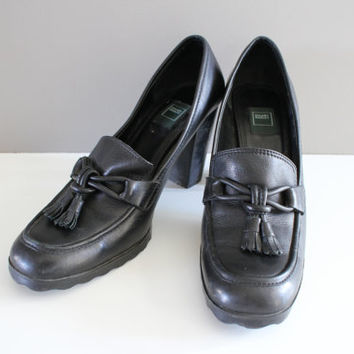 Size 9 Womens Tassel Loafers Hilary Radley Black Genuine Leather Chunk Heels Pumps Dress Shoes High Heels Pumps 90s Vintage #S040A