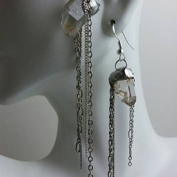 Crystal Earrings with Sterling Chain, Crystal Point Earrings, Silver Crystal Earrings, Long Dangle Earrings, Unique OOAK Jewelry  ODD BALLS