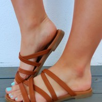 Turning Point Sandals: Cognac