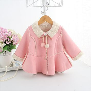 autumn 2018 baby winter jacket sold warm velvet baby girl jacket lovely suede nap newborn coat infantil clothes girls jackets