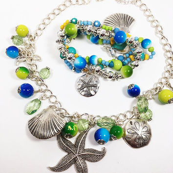 Tropical Beach Charm Jewelry Set Silver Tone Link Necklace & Wrap Bangle with Beads and Starfish Sand Dollar Shells Seahorse Fish Charms