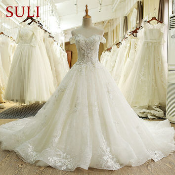 SL-66 Real Photo 100% Vintage Luxury Lace Bridal Wedding Dress with Sleeves 2017