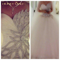 Honey Qiao Wedding Dresses 2017 Tulle Ball Gown Applique Sweetheart Lace up Crystal Beaded Court Train Luxury Bridal Gowns