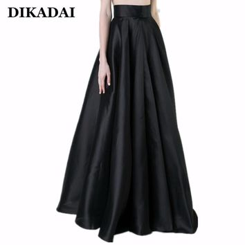 Maxi long Women Pleated Skirts Black Elegant Party Floor Length Plus Size 5XL 4XL Female Fashion Autumn Winter A line Skirt