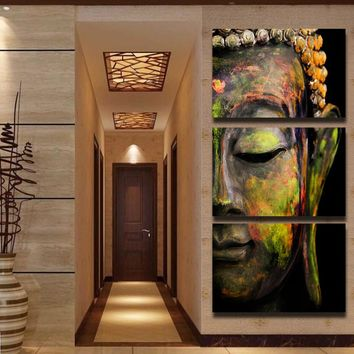 Abstract Buddha Wall Art Framed 3pcs Painting Print For Living Room Office