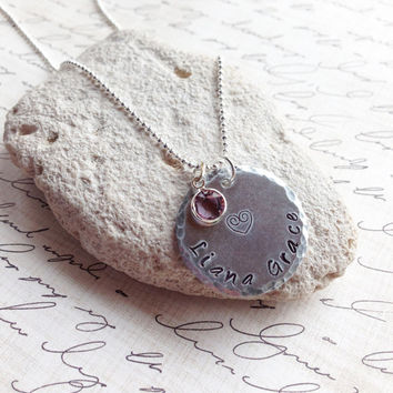 Handstamped Personalized Circle Pendant d6a5030d5f