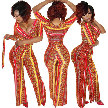 2016 New Jumpsuit Women overall sexy fashion high waist jumpsuits long pants Rompers plus size Bandage Romper with sashes