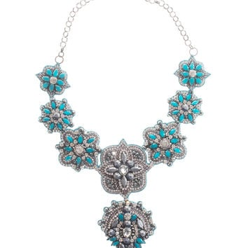 Deepa Gurnani  Fun in Marrakech Blue Embroidered necklace - What's new