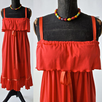 Vintage Vibrant Orange Dress Ruffle Bodice 1970's Polyester and Satin Trim Vicky Vaughn size Small/Medium