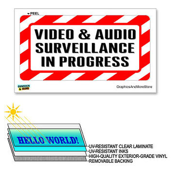 Video & Audio Surveillance in Progress - 12 in x 6 in - Laminated Business Store Sign Alert Warning Sticker