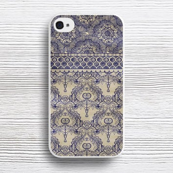 Vintage Wallpaper - hand drawn patterns in navy blue & cream case iPhone 4s 5s 5c 6s 6 Plus Cases, Samsung Case, iPod 4 5 6 case, HTC case, Sony Xperia case, LG case, Nexus case, iPad case