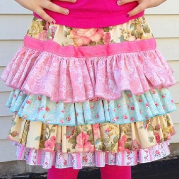 Ruffled Skirt in Pretty Pink Layers, for Little Girls and Toddlers