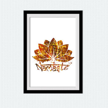 Lotus namaste poster Lotus namaste print Yoga sun color poster Yoga wall art print Home decoration Wall hanging art Yoga studio decor W401