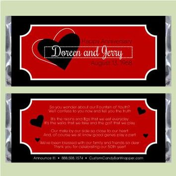 Heart 40th Anniversary Candy Bar Wrappers