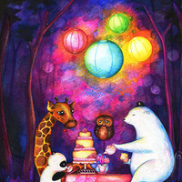 $18.00 Animal Friends Tea Party Painting by Annya Kai  by annya127
