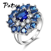 PATICO Luxury CZ Formed Brilliant Flower Rings with Blue AAA Zircon Statement Vintage Sterling Silver 925 Jewelry Women Birthday