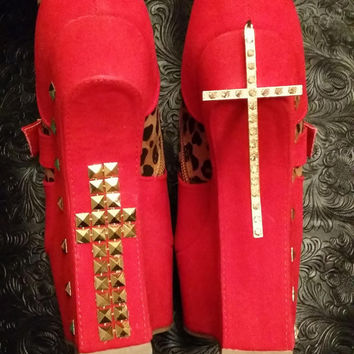 Sexy Red and Leopard Pring Cross Heelless Ankel Boots. Gold Studs- Lady GaGa #royalbliss