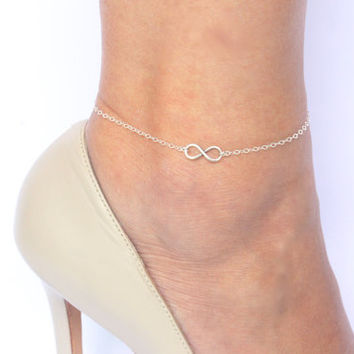Sterling Silver Eternity Anklet, Infinity Anklet, Tiny Infinty Anklet, Silver Infinity Anklet, Anklet Gift, Foot jewelry, Ankle Bracelet