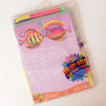 Vintage Lisa Frank Partial Stationery Set, Kissing Fish