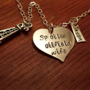 "Personalized heart shaped oilfield necklace ""Spoiled oilfield wife"" Hand stamped"